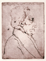 "15.Markus Vallazza, Goethe from the folder ""Mein Parnass"", 1984, etching"